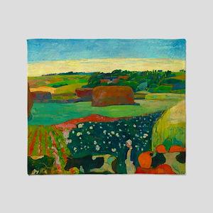 Haystacks in Brittany by Paul Gauguin Throw Blanke