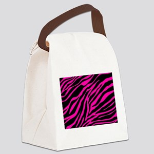 pink zebra Canvas Lunch Bag