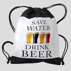 Save Water Drink Beer Drawstring Bag