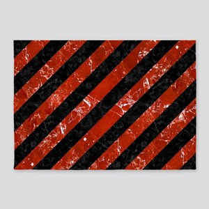STRIPES3 BLACK MARBLE & RED MARBLE 5'x7'Area Rug