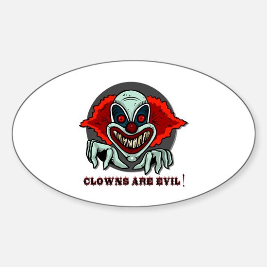Clowns are Evil Oval Decal