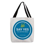 Say Yes Polyester Tote Bag With Black Handles
