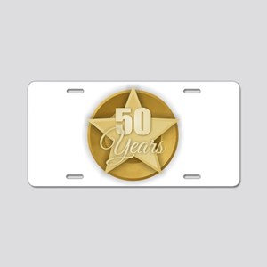 Gold 50 Years Aluminum License Plate