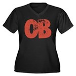 OB Women's Plus Size V-Neck Dark T-Shirt