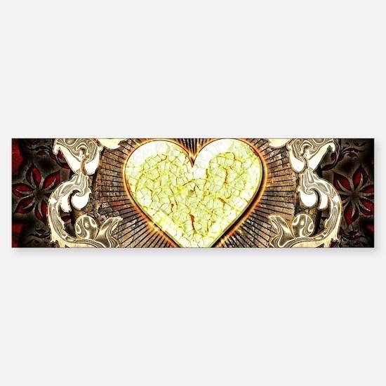 Broken yellow heart Bumper Bumper Bumper Sticker