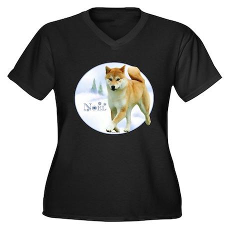 Shiba Noel Women's Plus Size V-Neck Dark T-Shirt