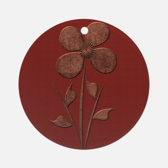 Cute Copper Flower Red Canvas Round Ornament