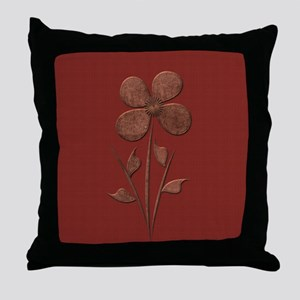 Cute Copper Flower Red Canvas Throw Pillow