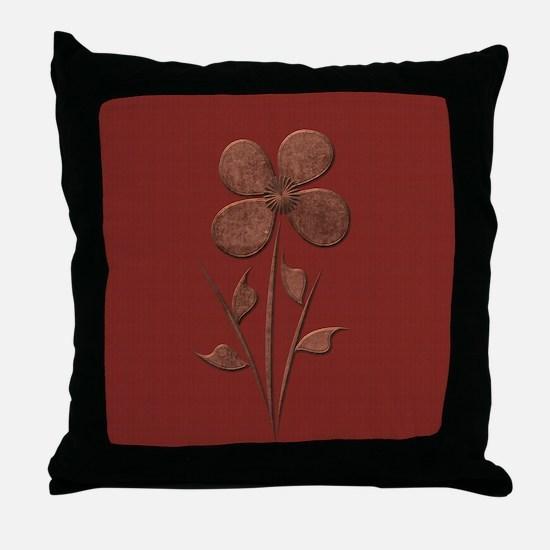 Cute Copper Flower Red Canvas Throw Pillow