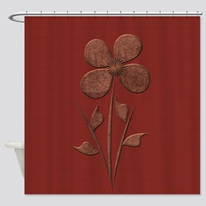 Cute Copper Flower Red Canvas Shower Curtain