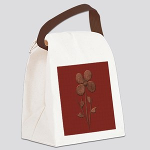Cute Copper Flower Red Canvas Canvas Lunch Bag