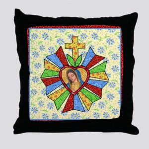 Heart Milagro with Cross Throw Pillow