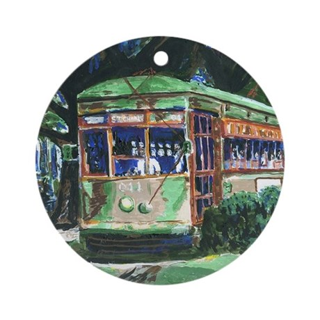 New Orleans Art Streetcar Ornament (Round)