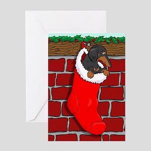 BT Dachshund Stocking Greeting Card