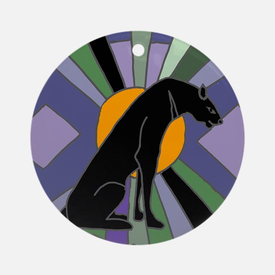 Panther Cat Art Deco Round Ornament