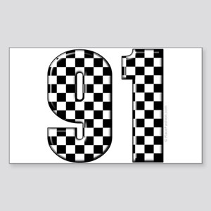 Checkered Number 91 Rectangle Sticker