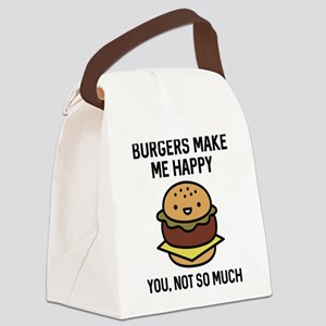 Burgers Make Me Happy Canvas Lunch Bag