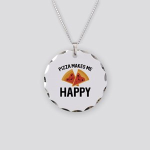 Pizza Makes Me Happy Necklace Circle Charm