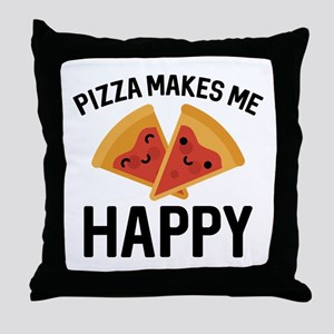 Pizza Makes Me Happy Throw Pillow