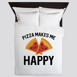 Pizza Makes Me Happy Queen Duvet