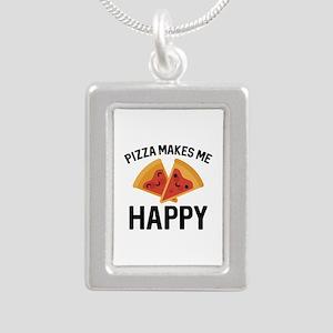 Pizza Makes Me Happy Silver Portrait Necklace