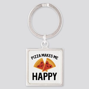 Pizza Makes Me Happy Square Keychain