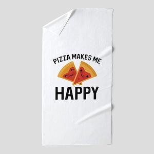 Pizza Makes Me Happy Beach Towel
