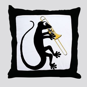 Gecko Trombone Throw Pillow