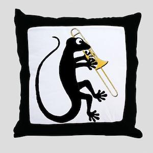 Gecko Trombone Throw Pillow