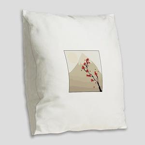 Mountain Blossom Burlap Throw Pillow