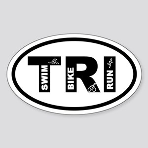 Triathlon Swim Bike Run Oval Sticker