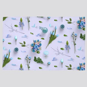 Scattered Flowers Blue 4' x 6' Rug
