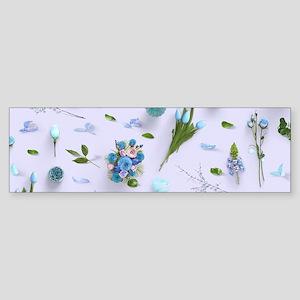 Scattered Flowers Blue Sticker (Bumper)