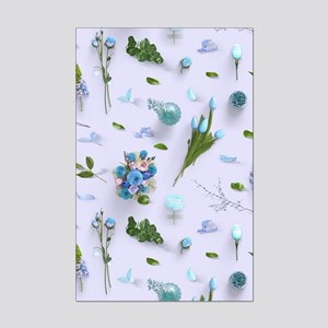 Scattered Flowers Blue Mini Poster Print