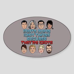 Archer Idiots Sticker (Oval)