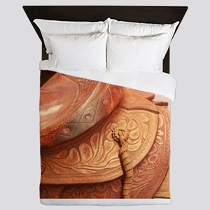 Tooled leather saddle Queen Duvet
