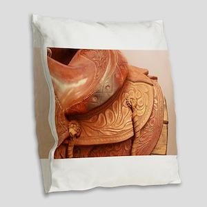 Tooled leather saddle Burlap Throw Pillow