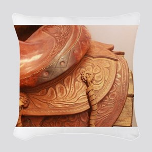 Tooled leather saddle Woven Throw Pillow