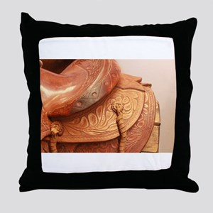 Tooled leather saddle Throw Pillow