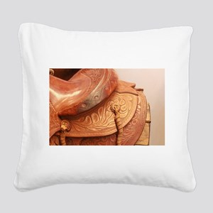 Tooled leather saddle Square Canvas Pillow