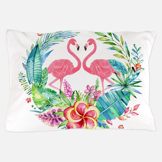 Colorful Tropical Wreath & Flamingos Pillow Case