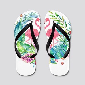 Colorful Tropical Wreath & Flamingos Flip Flops