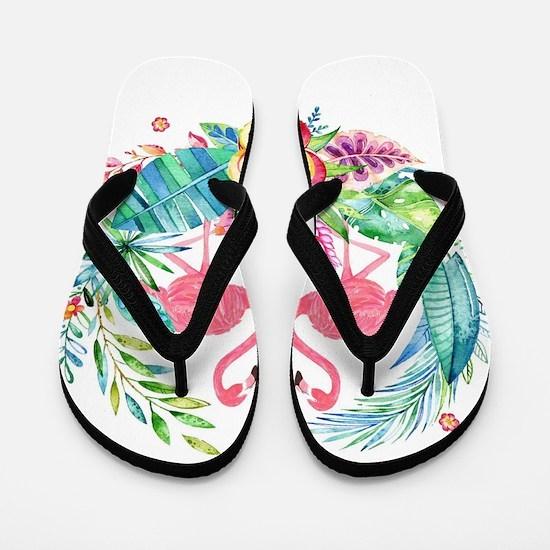Colorful Tropical Wreath & Flamingos Flip Flops