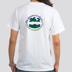 White T-Shirt with blue marathon design