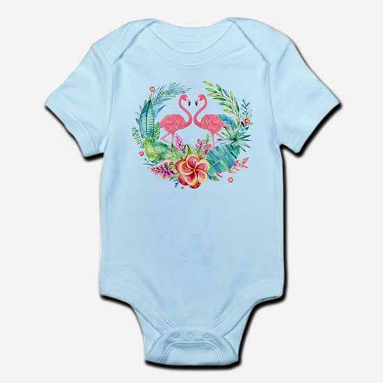 Flamingos With Colorful Tropical Wreath Body Suit