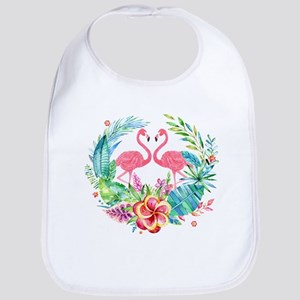 Flamingos With Colorful Tropical Wreath Bib