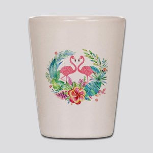 Colorful Tropical Wreath & Flamingos Shot Glass