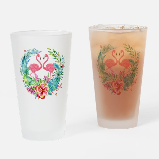Colorful Tropical Wreath & Flamingo Drinking Glass