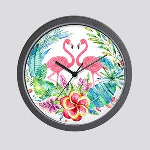 Colorful Tropical Wreath & Flamingos Wall Clock