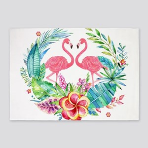 Colorful Tropical Wreath & Flamingo 5'x7'Area Rug